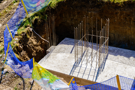 concrete slab with steel reinforcement bars - view from above