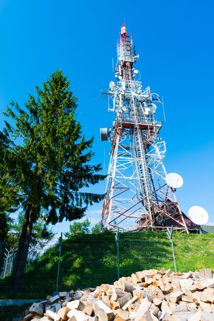 broadcasting mast - view of radio signal television tower background