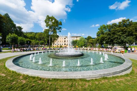 KRYNICA ZDROJ, POLAND - August 23, 2015: Multimedia fountain located in the center of the Krynica Promenade, next to the Old Spa House Éditoriale