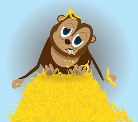 bloated: cute monkey on bananas, vector illustration