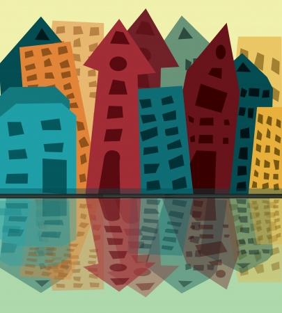 colorful city, vector illustration Illustration