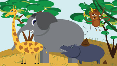 dry grass: cute african animals cartoon in vector, full of animals aboard with giraffe, elephant, hippo, monkey Illustration