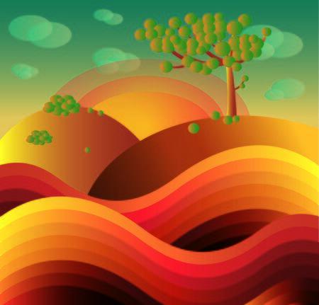 melancholy: colored autumn landscape Illustration