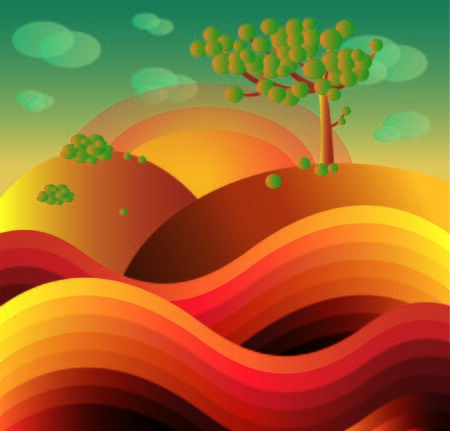 yellow hills: colored autumn landscape Illustration