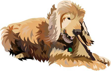 chew: Brown dog biting a stick Illustration