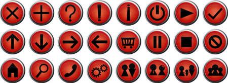 simbolo de la mujer: Un conjunto de botones web brillante redondo rojo y