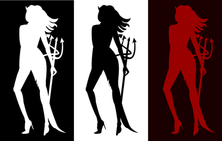 three sexy women devil silhouettes