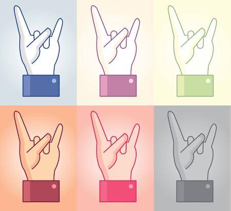 gesticulation: Vector rock and metal hand symbol in 2D