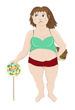cellulit: Kövér nő édességet, vektoros illusztráció