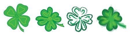 four leaf: four leaf clover, set, vector illustration