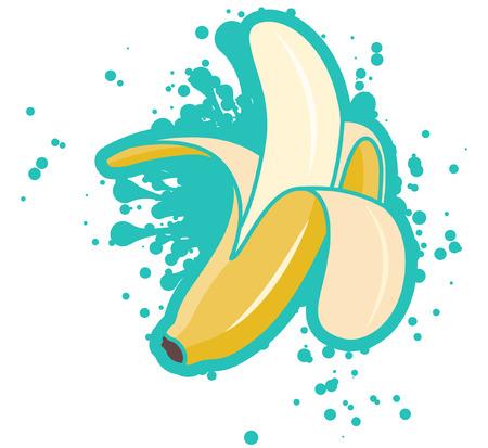 Banane pelée simple avec splash turquoise, illustration vectorielle Vecteurs