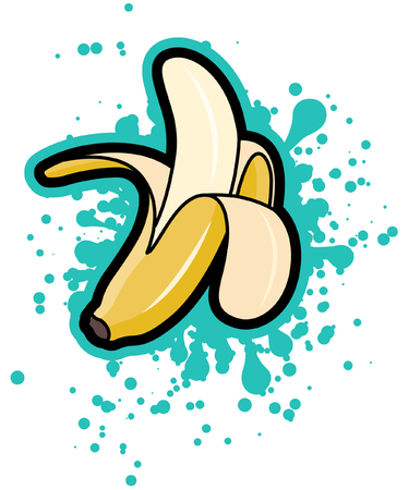 Simple peeled banana with turquoise splash, vector illustration