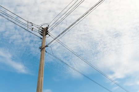 cement pole: Electric pole with wire