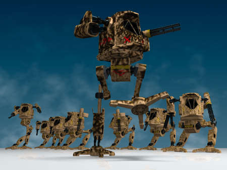 illustration (3d render) of fantasy mechanical warriors