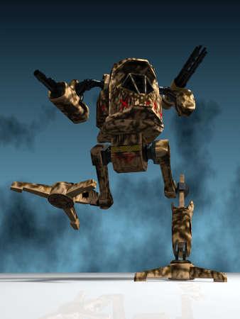 illustration (3d render) of fantasy mechanical warrior