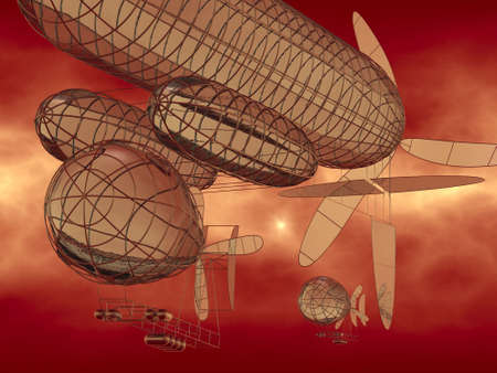 3D model of fantasy flying machines  Stock Photo