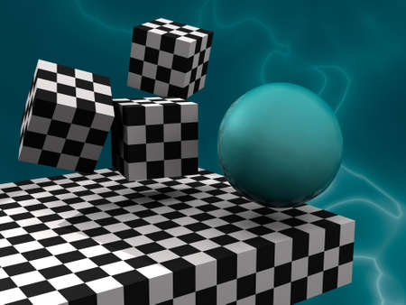 illustration (render) 3D fantasy abstract with cubes like cheesboard and sphere
