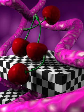 snaky: illustration (render) 3D fantasy abstract with cherrys, cubes and fantasy elements Stock Photo