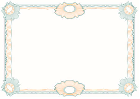 rosettes: guilloche: classic decorative frame with rosettes for diploma, certificate and similar documents Illustration
