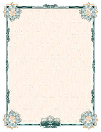 guilloche: classic decorative frame with rosettes for diploma, certificate and similar documents Vector