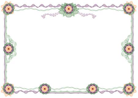 rosaces: guilloch�e: classique cadre d�coratif avec des rosettes pour les dipl�mes, certificats et autres documents similaires