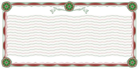 guilloche: decorative border with wavy background, stripes and rosettes for classic diploma, certificate and similar documents Illustration
