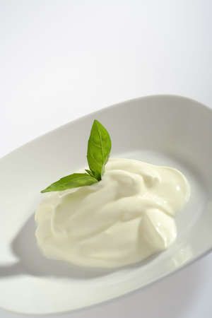 Portion of creme fraiche on plate decorated with  basil's leaves. Side view on bright background with copy space at top of frame.