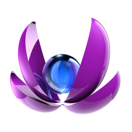 Abstract 3D blue sphere and violet parts of sphere