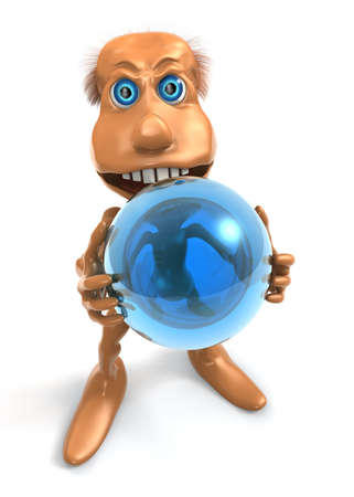 3D toon character keep blue sphere with both hands photo