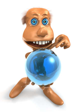 3D toon character keep blue sphere with one hand photo