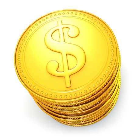 earn: Mont�n de monedas de d�lar oro simb�lico