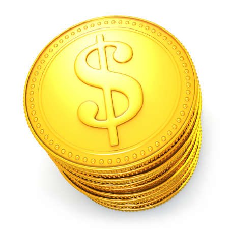 golden coins: Pile of symbolic golden dollar coins Stock Photo