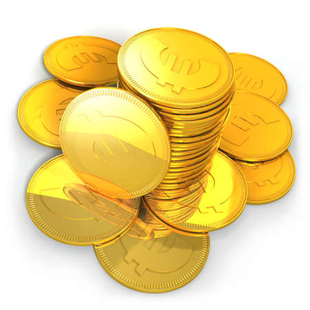 Pile of symbolic golden EURO coins