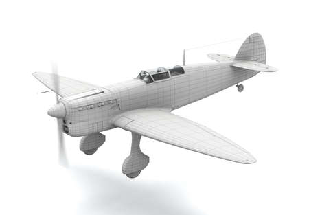 3D classic airplane (fighter) model flying over white background