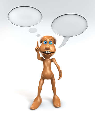 3D toon character with talking bubbles and with finger up photo
