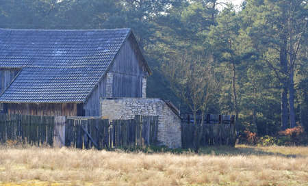 Old village architecture with dry grassy meadow and forest on background Stock Photo - 6685836