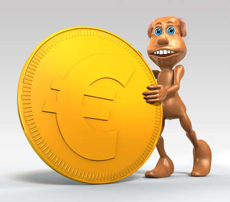 3D toon character with big symbolic golden Euro coin on gray background photo