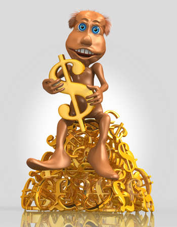 3D toon character keep golden dollar symbol and sitting on a pile of golden currency symbols photo
