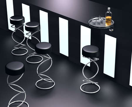 Simple 3D visualisation modern dark tones bar interior photo