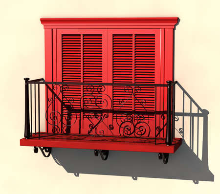 3D visualisation of red painted balcony in strong summer light