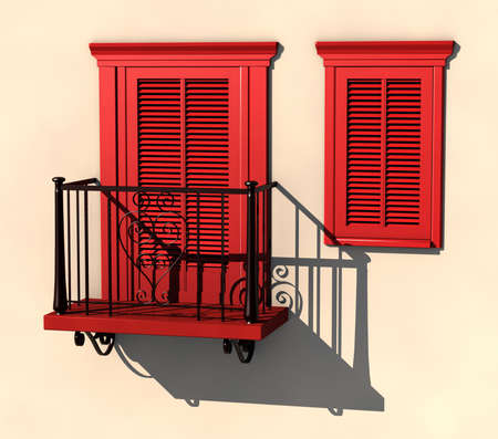 visualisation: 3D visualisation of red painted balcony and window in strong summer light