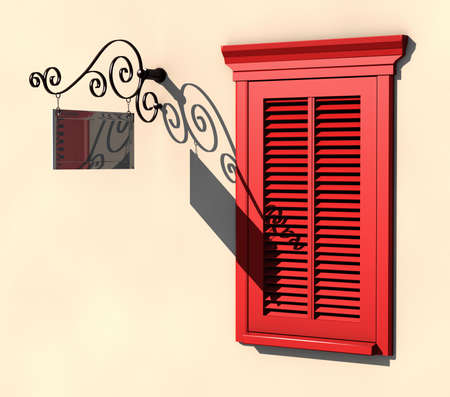 3D visualisation of red painted window and dark metallic signboard in strong summer light Stock Photo - 7198031