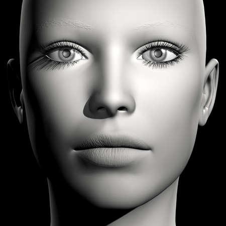 3D woman monochrome portrait without face expression Stock Photo