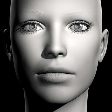 frontal: 3D woman monochrome portrait without face expression Stock Photo