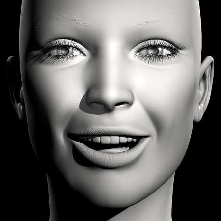 3D woman monochrome portrait with face expression (happy)