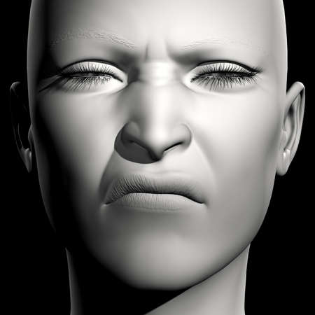 disgusted: 3D woman monochrome portrait with face expression (disgusted) Stock Photo