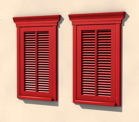 3D visualisation of two red painted windows in strong summer light Stock Photo - 7198524