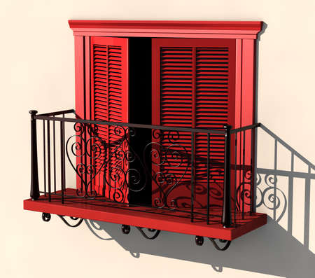 3D visualisation of red painted balcony with partially opened doors in strong summer light Stock Photo - 7198562