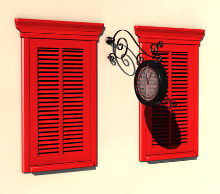3D visualisation of two red painted windows and street clock in strong summer light Stock Photo - 7198519