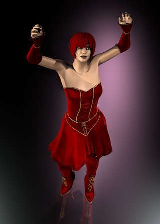 Realistic 3D woman with fantasy red hairs and red dress with hands up Stock Photo - 7198480